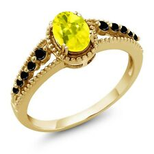 1.00 Ct Oval Canary Mystic Topaz Black Diamond 14K Yellow Gold Ring