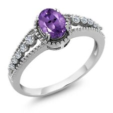 0.96 Ct Oval Purple Amethyst White Topaz 925 Sterling Silver Ring