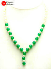 SALE 5-6mm White Natural Pearl & 8mm Round Green Jade pendant 17'' Necklace-5998
