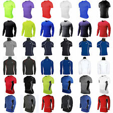 Mens Compression Base Layer Tee Shirt Undershirt Fitness Gym Sports Top Tights