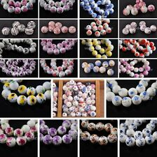10/20pcs Flower Pattern Round Ceramic Porcelain Loose Spacer Beads Charm 10-12mm