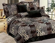 NEW Twin Full Queen Cal King 7 pc Leopard Zebra Black Brown Fur Comforter Set