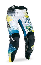 Fly Racing Teal/Yellow/White Womens & Youth Kinetic Race Dirt Bike Pants MX ATV