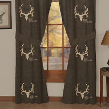 """Pair of Brown Bone Collector Curtains Lined Drapes 84""""x84"""" & Valance Set Option"""