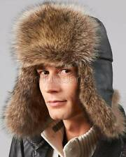 The Swiss Alps Raccoon Fur Trapper Hat -Brand: FRR -Made in Canada