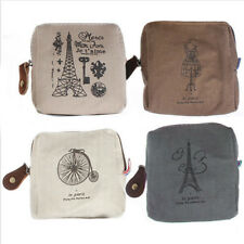 Women Vintage Small Canvas Tower Cloth Purse Wallet Card Key Coin Bag Pouch Case