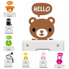 Cute Cartoon Animal Switch Decor Wall Sticker Cat Dog Pig Rabbit Light Removable