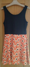 Next girls navy and orange floral dress age 9 years excellent condition