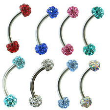 16g Eyebrow Ring 4mm Crystal Ball Bar Tragus Curved Barbell Steel Body Piercing