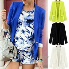 Women Hot Candy Color Solid Fashion Slim Suit Blazer Jacket Coat Outwear S-XL