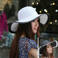 Womens Cap Large Brim Floppy Fold Hat Summer Fashion Beach Straw Beach Sunhat