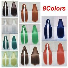 100cm Full Wig Long Straight Cosplay Party Costume Anime Hair Fashion Multicolor