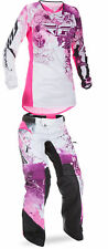 Fly Racing Pink/Purple/White Womens Youth Kinetic Dirt Bike Jersey & Pant Kit 17