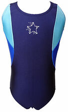 TALENT TALE GIRLS DANCE/ GYMNASTIC  Navy Tank Leotard with Rhinestone