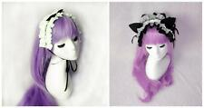 Lolita White Cotton Ruffled Bow Headdress Gothic Cosplay Maid Bonnet Fascinator