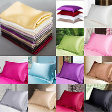 New Summer Silk Satin Soft Pillow Cases Queen Comfort Standard Solid Protector