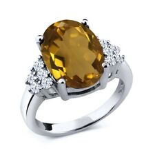 5.40 Ct Oval Whiskey Quartz White Topaz 925 Sterling Silver Ring