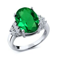 6.05 Ct Oval Green Simulated Emerald White Diamond 925 Sterling Silver Ring