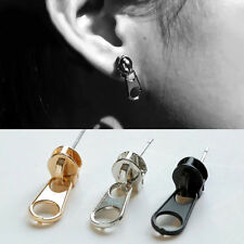 1 Pair Women Punk Gothic Cool Zipper Puller Stainless Steel Ear Stud Earring New