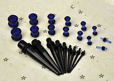 23 Pcs Stretchers Gauges 14G-00G 1.6mm-10mm Ear Taper+ PLUG Kit Expander Set