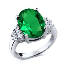 4.30 Ct Oval Green Simulated Emerald 18K White Gold Ring