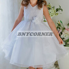 White Lace Organza Flower Girl Dress Christmas Pageant Graduation Dance Formal