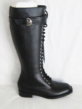 NIB AUTH GUCCI BLACK LACE UP BUCKLE Leather HEEL TALL KNEE BOOTS size 7,  8