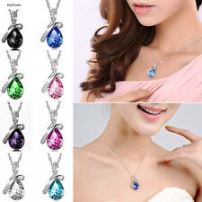 2016 Women Jewelry Necklace Rhinestone Heart NEW Crystal Pendant Chain Silver