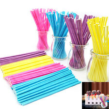 100Pcs 10cm Paper Lollipop Lolly Candy Pop Sucker Sticks Chocolate Cake CookieFT