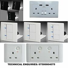Ultra Modern Soft Touch LED Light ON OFF Switch Double socket USB LED or dimmer