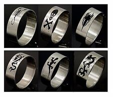 New Stainless Steel Band Ring Enamel Paint 6 Design Spider Lizard Dragon Sz 9-13
