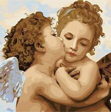 Hand Painted Design Needlepoint Canvas - Kissing Cherubs