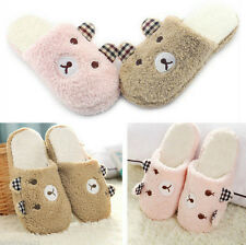 Indoor Home Cute Animal Antiskid Men Women Plush Warm Bear Soft Winter Slippers
