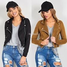 Womens Ladies Classic Padded Bomber Jacket Vintage Zip Up Biker Coat BE0D