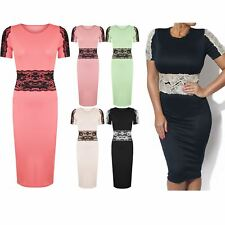Womens Ladies Bodycon Lace Mesh Long Pencil Short Sleeves Party Top Midi Dress