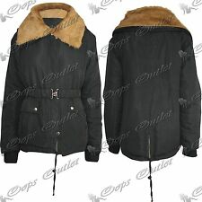 Womens Ladies Faux Fur Quilted Hooded Hoodie New Outerwear Jacket Coat Top Size