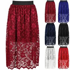 New Womens Ladies Floral Lace Layer High Waist Elasticated Band Swing Midi Skirt