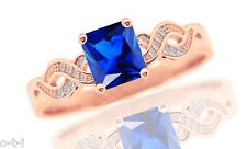 14k Rose Gold Plated Infinity Celtic Princess Blue Sapphire w CZ Silver Ring