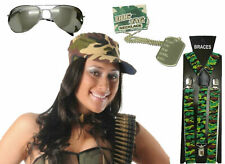 Camouflage Army Soldier Cap Hat Dog Tag Sunglasses Fancy Dress Accessories