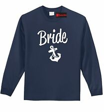 Bride L/S T Shirt Cute Wedding Gift Anchor Tee Bachelorette Party Marriage Z1