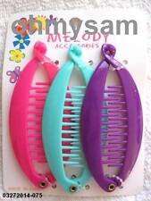 "(6) NEW COLORFUL  PLASTIC BANANA HAIR CLIP / COMB / CLAW 3 1/2 "" LONG"