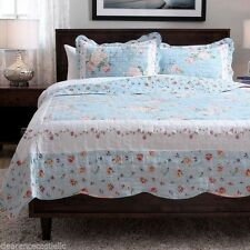 NEW Twin Full Queen King 3 pc Blue Floral Rose Reversible Quilt Coverlet Bed Set