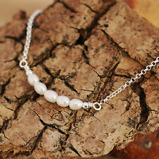 Freshwater Pearls Sterling Silver Necklace Bridal Bridesmaids Gift Ivory White