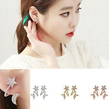 Women Chic Crystal Rhinestone Earrings Charm Moon Star Ear Stud Earring