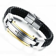 Black Mens Braided Leather Stainless Steel Buckle Cuff Bangle Bracelet Wristband