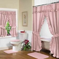 NEW ROSE PINK Double Swag Shower Curtain with Liner & Tiebacks