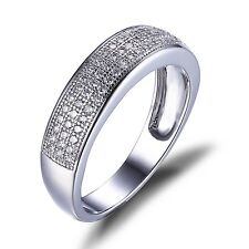 JewelryPalace Elegant Band Ring Cubic Zirconia Solid 925 Sterling Silver Jewelry