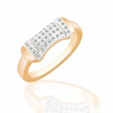 Sz6-Sz9!18K Multi-Tone Gold white round Sapphire Standing out design lady ring
