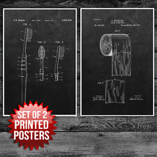 Bathroom Art Toilet Paper and Toothbrush Patent Poster Prints