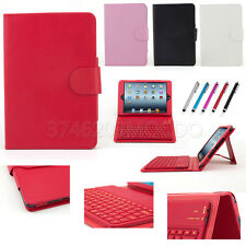 Leather+Silicone Bluetooth Keyboard Stand Case Cover For Apple iPad Mini 1 2 3